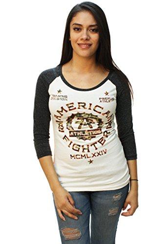 American Fighter Womens Maryland Camo Baseball T Shirt Small Dim White Black