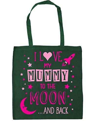 HippoWarehouse Ich Liebe Meinen Mumie to the Moon and Back (Pink) Einkaufstasche Fitnessstudio Strandtasche 42cm x38cm, 10 liter - Flaschengrün, One size