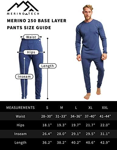 Merino.tech Merino Wool Base Layer Mens Bottom Pants 100% Merino Wool Midweight Thermal Underwear Long Johns + Wool Socks