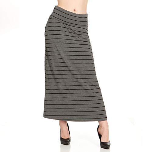 X America Womens Long Stylish Foldover Maxi Skirt, Rayon Spandex, Junior & Plus (Stripe Plus Junior)