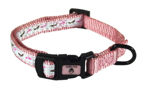 Hamilton Pixie Pet Collection Guys and Dolls Fashion Adjustable Dog Collar, 3/8-Inch, Shoes/Pink - Fae 7 Dog Collar
