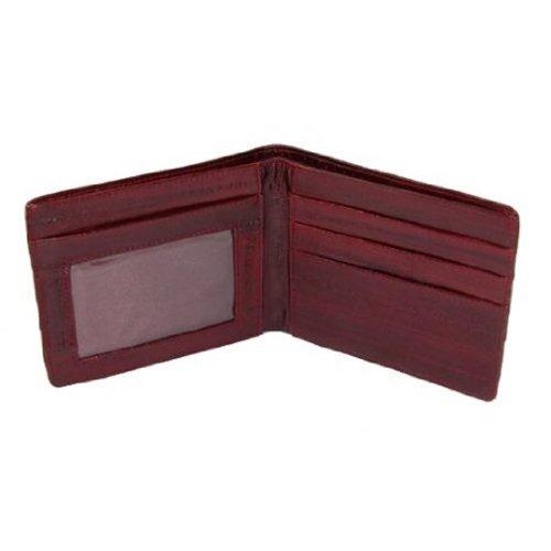MJ Masters Mens Eel Skin ID Window BiFold Wallet, (Red Mens Wallet)