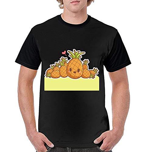 Summer Men T Shirt Street Style Header Pineapple Printed Short Sleeve T-Shirt Casual Loose Tops Juniors Tees