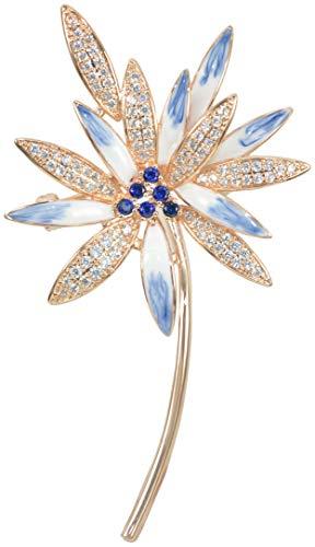 Gyn&Joy Womens 18K Gold Plated Blue Clear Cubic Zirconia Floral Daisy Flower Enamel Petals Brooch Pin ()