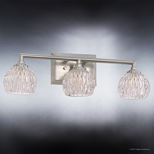 Luxury Crystal LED Bathroom Vanity Light, Medium Size: 6.25''H x 20''W, with Classic Style Elements, Brushed Nickel Finish and Marquis Cut Glass Shades, G9 LED Technology, UQL2621 by Urban Ambiance by Urban Ambiance (Image #2)