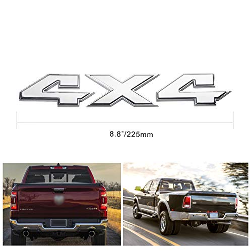 Silver 4X4 Emblem Badge 8.8 Inch Sticker for Dodge Ram 1500 2500 3500
