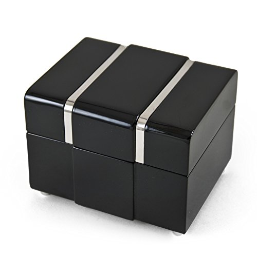 Modern 18 Note Black Lacquer Musical Jewerly Box With Chrome Accents - Over 400 Song Choices - Hey Jude (The Beatles) ()