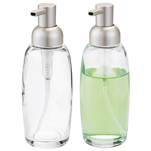 mDesign Round Glass Refillable Liquid Soap Dispenser Pump Bottle for Bathroom Vanity Countertop, Kitchen Sink - Holds Hand Soap, Dish Soap, Hand Sanitizer, Essential Oils - 2 Pack - Clear/Satin