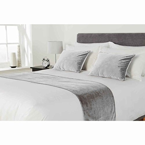 FABRICART HOTEL COLLECTION BED RUNNER SET :1pc flossed velvet bed runner |scarf | throw with 2 pc 20'' x 20'' cushion cover |pillow shams| bed accessory | room decor| (SILVER, KING- 20 X 94 INCHES) by FABRICART