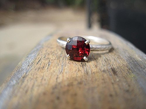 Checkerboard Cut Rhodolite Garnet Ring in Sterling Silver Fleur de Lis Setting with Millgrain Band