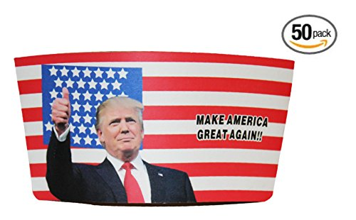 Make America Great Again Cup Sleeve: Durable Corrugated Cardboard To Hold Hot Cups Of Coffee Or Tea – Proudly Displaying The American Flag And President Donald Trump With His Campaign Trail Slogan