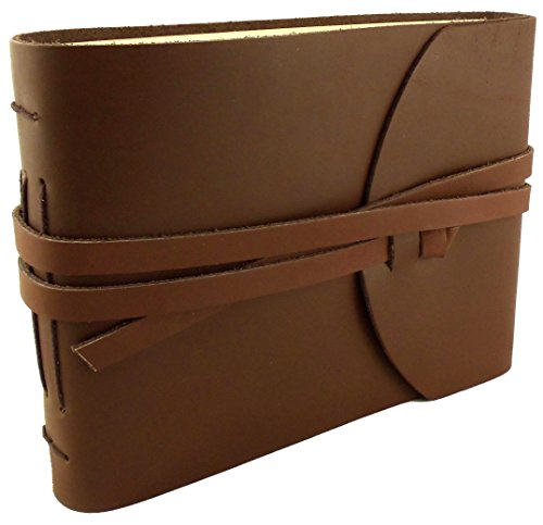 Rustic Genuine Leather Photo Album with Gift Box - Scrapbook Style Pages - Holds 100 4x6 or 5x7 Photos - Photo Book 6x8