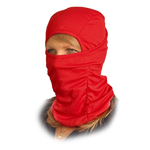 Red Full Face Mask (Balaclava Face Mask - One Size Fits All Elastic Fabric - Protects From Wind, Sun, Dust - Ideal for Motorcycle, Face Mask for Ski, Cycling, Running or Hiking - Summer or Winter Gear)