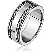 Mens Sliver Rotatable Chain Ring Stainless Steel Band Ring For Men 8MM Width Size 5-11
