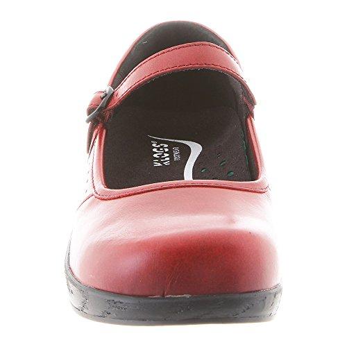 Charleston Buckle Clog Leather Red Klogs Women's 5ZYqxO