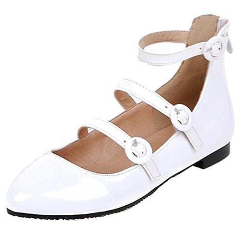 Easemax Womens Stylish Patent Leather Flat Shoes White AVoNPqu5ET