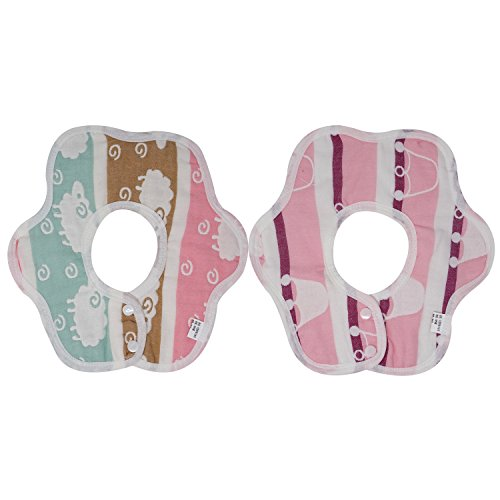 Honbay 2PCS Petals Shape Super Soft Pure Cotton 360 Degrees Rotate Baby Bibs Baby Drool Bibs Saliva Towel Suitable for 0 - 36 months Drooling or Teething Baby (Pink Crown + Antelope)