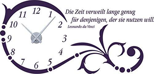 GRAZDesign Wanduhr groß Aufkleber Ornament mit Spruch - Wandtattoo Uhr Uhr Uhr mit Uhrwerk Die Zeit verweilt Lange genug - Uhren Wand Tattoo mit großen Zahlen   119x57cm   800331_GD_080 B00CRHMFT8 Wandtattoos & Wandbilder 411c1b