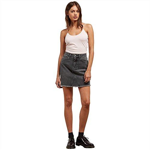 Volcom Junior's Stoned High Rise Raw Hem Mini Skirt, Smoke, XS