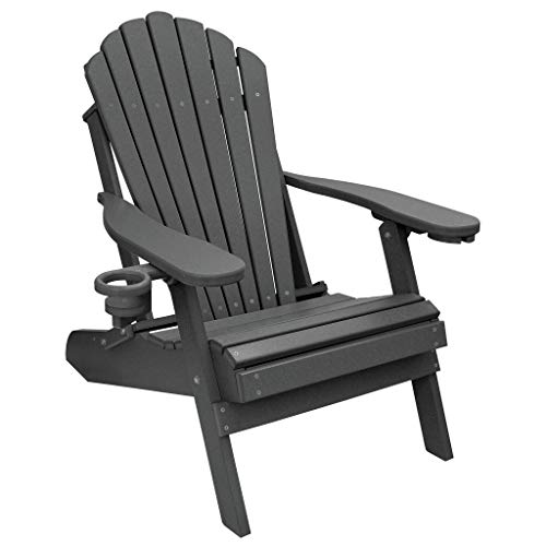 ECCB Outdoor Outer Banks Deluxe Oversized Poly Lumber Folding Adirondack Chair (Dark Gray) (Plastic Adirondack Chairs Gray)