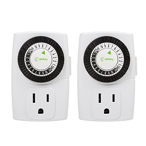 Century Indoor 24-Hour Mechanical Outlet Timer, 3 Prong, 2-Pack (La Outlet)