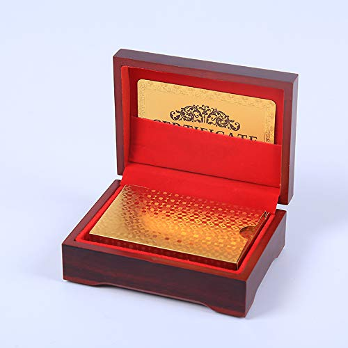 Nice Deck - Fdrirect 24K Gold Foil Plated Table Game Grid Pattern Playing Cards with Nice Wood Box