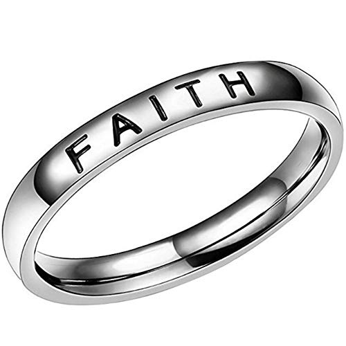 Ring Mens Faith (Jude Jewelers 4mm Stainless Steel Love Faith Hope Mantra Inspirational Wedding Band Ring (Faith, 9))