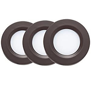 Getinlight led puck lights kit recessed or surface mount design getinlight led puck lights kit recessed or surface mount design soft white 3000k 2w 6w total 30w equivalent bronze finished etl listed pack of 3 aloadofball Image collections