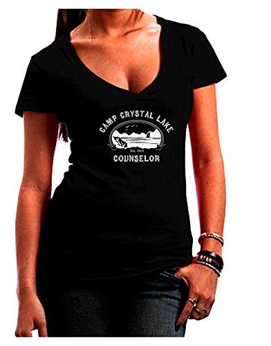 TooLoud Camp Crystal Lake Counselor - Friday 13 Juniors V-Neck Dark T-Shirt - Black - -