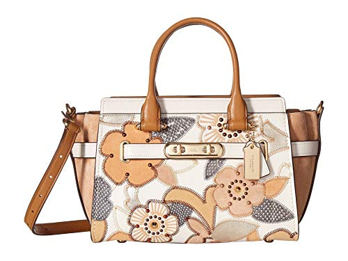 COACH Women's Coach Swagger 27 With Patchwork Tea Rose And Snakeskin Detail Li/Chalk Multi One ()