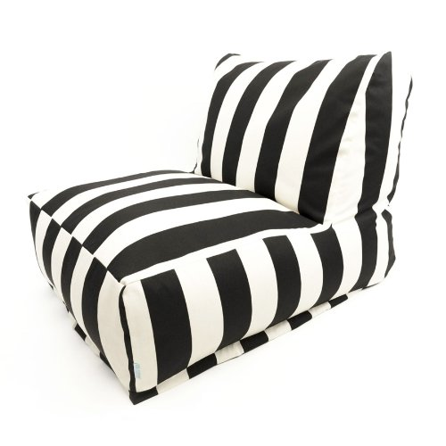 Majestic Home Goods Black Vertical Strip Bean Bag Chair Lounger (Outdoor Waterproof Bean Bags Furniture)
