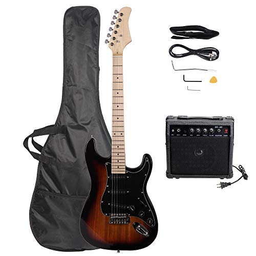 Festnight 39 Inches Electric Guitar with Pickguard Plectrum Tremolo Bar Amplifier Power Wire and Carrying Bag Wooden Cutaway Acoustic Guitar for Professional/Beginner/Adult/Junior/Children