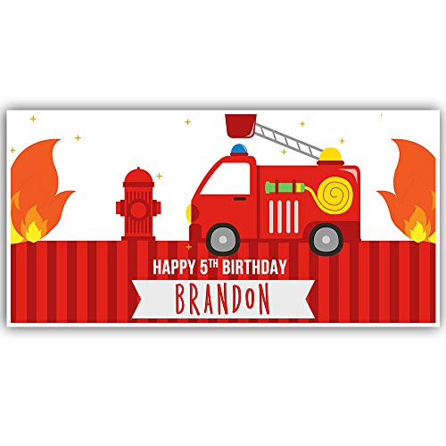 (Fire Truck Stars and Stripes Birthday Banner Party Decoration)