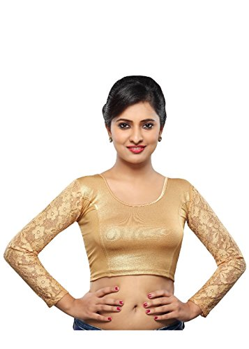 Saris and Things Copper Shimmer Strechable Ready-made Saree Blouse Choli (Ready Made Designer Saree Blouses compare prices)