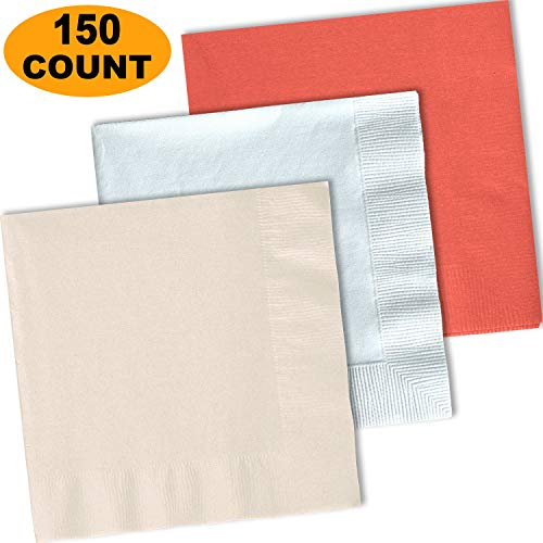 150 Lunch Napkins, Ivory, Bright White, Coral - 50 Each Color. 2 Ply Paper Dinner Napkins. 6.5