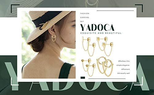 YADOCA 4 pairs Copper Chain Stud Earrings Set for Women CZ Dangle Earrings Ball Stud Earring Bar Stud Earrings Huggie Hoop Piercing Earrings Stainless Steel Ear Pins