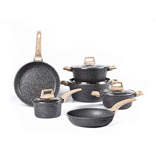 Carote Nonstick Kitchen Cookware Set,10 Pcs Pots and Pans Set Nonstick Cookware Sets, Essetial Woody,Black (10-Pcs…