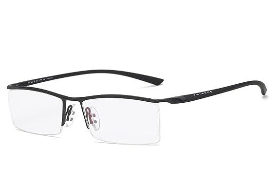 a974d39106 LUOMON Customize Prescription Glasses Men 54mm Semi Rimless Plain Eyeglasses  with Black TR90 Unbreakable Frame EG001