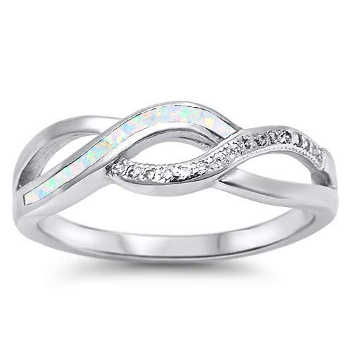 Jewelry Gift for Women Glitzs Jewels 925 Sterling Silver Created Opal Ring White
