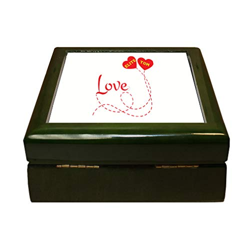 Style In Print Personalized Custom Text Love Two Hearts Ballons Couple Romantic Wood Organizer Jewelry Box 4