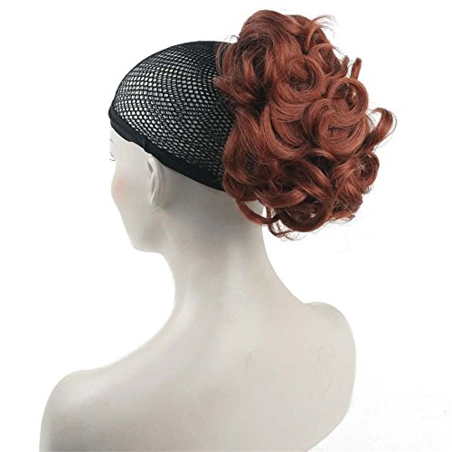 Aimole Lady Short Curly Claw Clip-on Hair Ponytail Hairpiece Synthetic Extensions Wig(130-Fox (Red 130 Wig)
