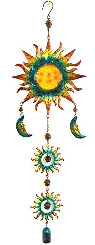 Bejeweled Display® Sun & Moon Face Stained Glass Wind Chimes & Bell 36