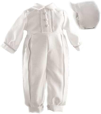 Lauren Madison Baby boy Christening Baptism Infant Shantung Full Length Romper