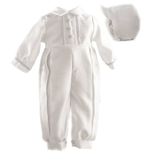 Lauren Madison Baby boy Christening Baptism Infant Shantung Full Length Romper