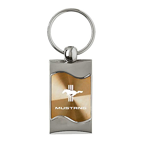 Upgrade Your Auto Ford Mustang Tri-Bar on Gold Rectangular Wave Keychain - Officially Licensed