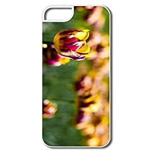 IPhone 5 5S Case, Tulips White Cover For IPhone 5