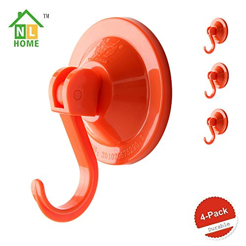 4-Pack Power Lock Suction Cup Hooks,Red,by NL Home?