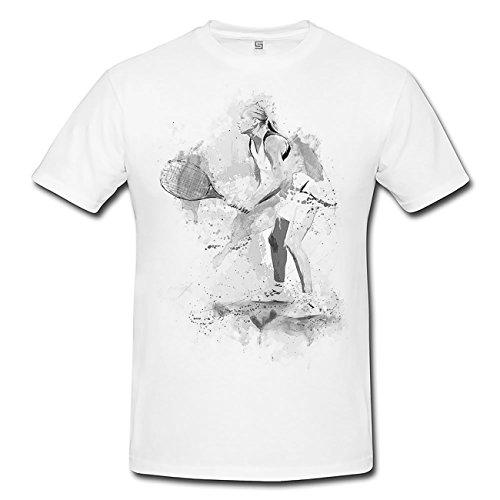 Tennis T-Shirt Herren, weiß mit Aufdruck