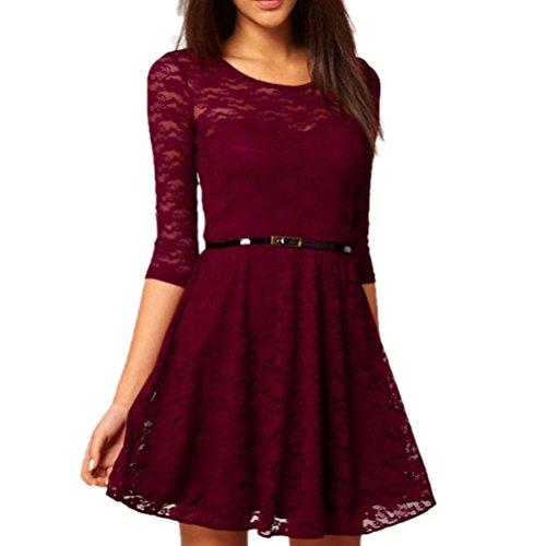 Velishy Womens O-Neck 3/4 Sleeve Lace Sakter Dress with Belt Wine Red Medium US
