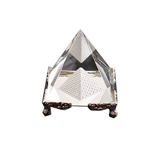 Energy Healing Clean Crystal Glass Pyramid with Gold Stand Egypt Egyptian Figurines Miniatures Ornaments Craft 60mm